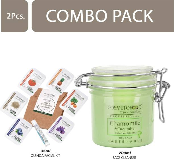 Cosmetofood Professional Combo Of Chamomile & Cucumber Hydrating Face Cleanser With Quinoa Facial Kit, 235 mL