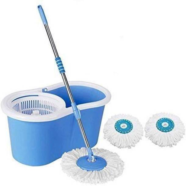 Diem RUNWET 360° Spin Floor Cleaning Easy Advance Tech Bucket PVC Mop & Rotating Steel Pole Head with Wheels 2 Microfiber Refill Mop Set