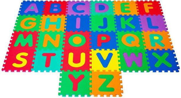 FrndzMart Non Toxic Eva Foam A to Z and 0 to 9 Puzzle Mats|Alphabets and Numbers Puzzle Mat Interlocking Toys for Kids Playing Set of 36 ABCD matt Tiles
