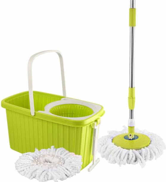 cello Kleeno Hi Clean Spin Mop with 2 refill and 1 liquid dispenser (Green) Wet & Dry Mop