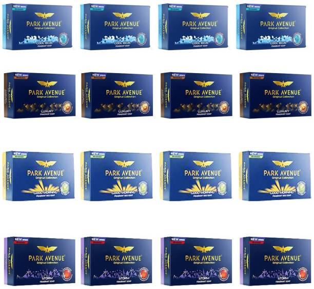 PARK AVENUE 4 COOL BLUE FRAGRANT SOAP (125 GM) + 4 STORM FRAGRANT SOAP (125 GM) + 4 LUXURY FRAGRANT SOAP (125 GM) + 4 GOOD MORNING FRAGRANT SOAP (125 GM)