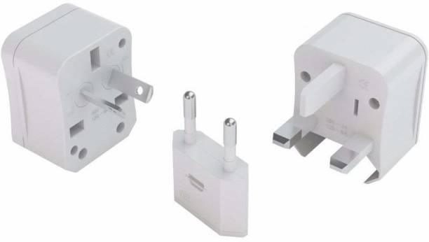 HI-PLASST International World Travel Adapter Wall Charger All-in-one Universal Plugs for US Japan UK Europe Australia Canada -with Carry Case(White) Worldwide Adaptor