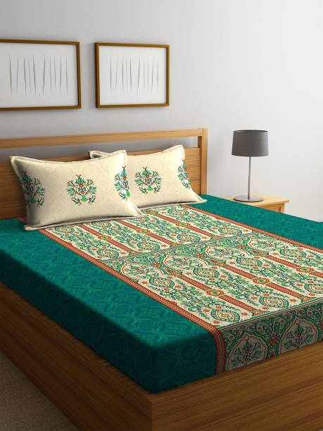 PORTICO NEW YORK 210 TC Cotton Double King Printed Bedsheet