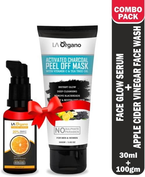 LA Organo Vitamin C Face Serum with 20% Vit C+Activated Charcoal Peel Off Mask , Skin Brightening Combo