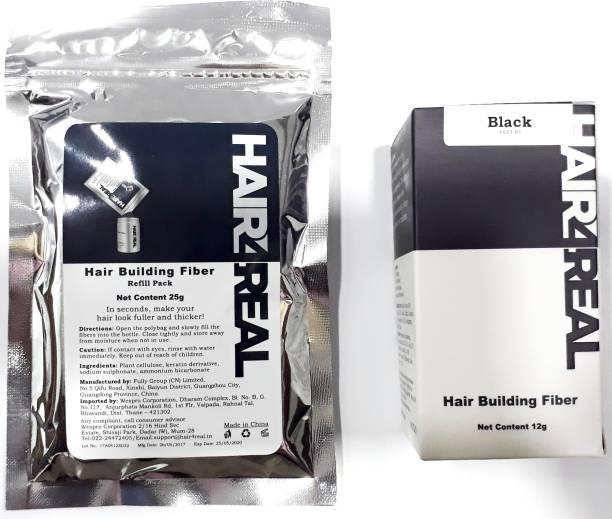 Hair4Real Hair Loss Concealer Fiber 12g with Hair Building Fiber Refill Pack 25g (Total 37g Black) Black_37g Extreme Hair Volumizer Powder