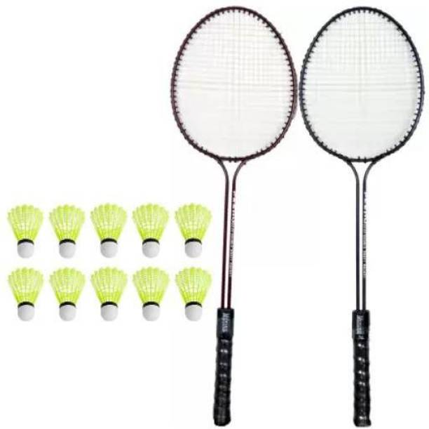 Monika Sports Pair of Double Shaft Racquets with 10 pc Shuttle Badminton Kit