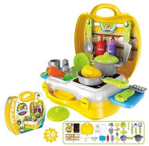 Luxula 26 PCs Kids Play Kitchen Set Roll Play Toy Kitchen Cooking Pretend Set For Your Children