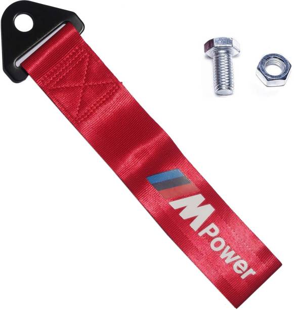 AutoRight M Power Tow Strap Universal Fit for Front or Rear Bumper (Red) 0.2 m Towing Cable