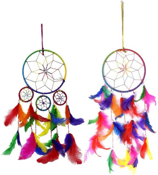 Ryme Car and Wall Hanging Multi Color Dream Catcher (Pack of 2) Wool Dream Catcher