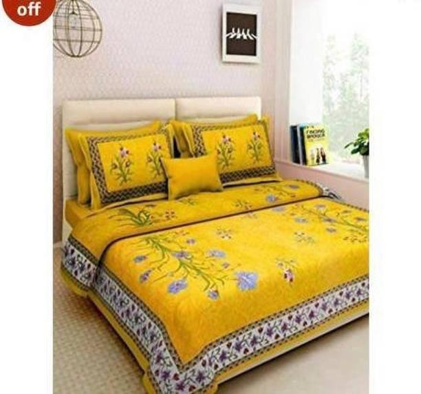 mohit creation 235 TC Cotton Double Floral Bedsheet