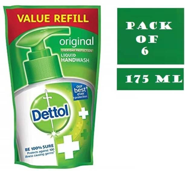 Dettol Original Liquid Handwash Refill Ambz 175 ml ( Pack of 6 ) Hand Wash Bottle