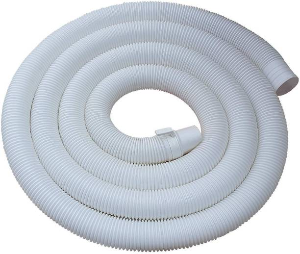 NEW WARE 5 Meter Washing machine drain Outlet pipe Corrugated Plastic Outlet/Drain/Extension Hose Suitable for All Fully/Semi Automatic Washing Machines Outlet (Length: 5 Meter, White) Hose Pipe