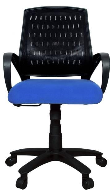 Rajpura Smart Medium Back Revolving Chair with Centre Tilt mechanism in Blue Fabric and Black mesh/net back Fabric Office Executive Chair