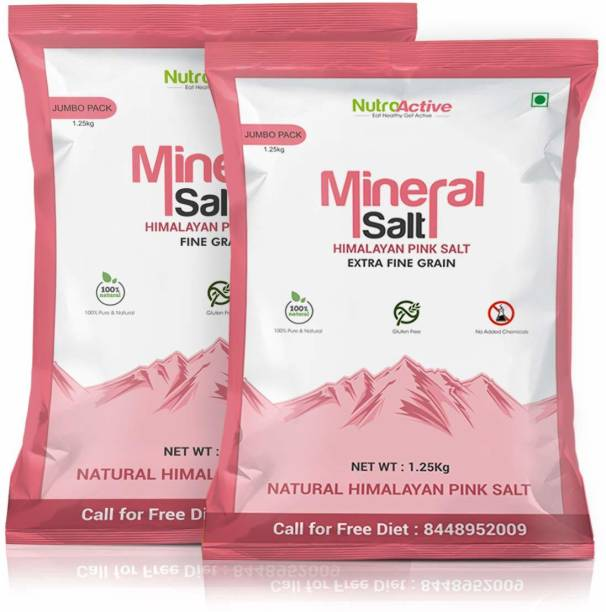 NUTROACTIVE MineralSalt Himalayan Pink Rock Salt Combo Extra Fine Grain ( 1 kg) and Fine Grain ( 1 kg) Each Himalayan Pink Salt
