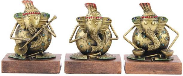 Handicrafts Paradise Musical Ganesh in Iron and Wood Handmade Decorative gift item Showpiece for Home Décor ( 4 inch ) - set of 3 pc Decorative Showpiece  -  16.5 cm