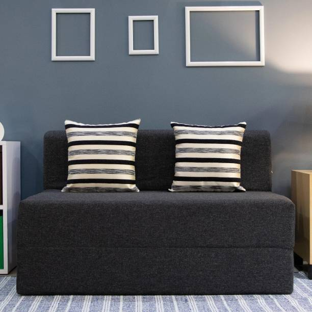 uberlyfe Two Seater Sofa Cum Bed - Perfect for Guests - Jute Fabric Washable Cover with 2 Cushions(Striped Black Pattern) - Dark Grey  4' X 6' Feet. Double Sofa Bed