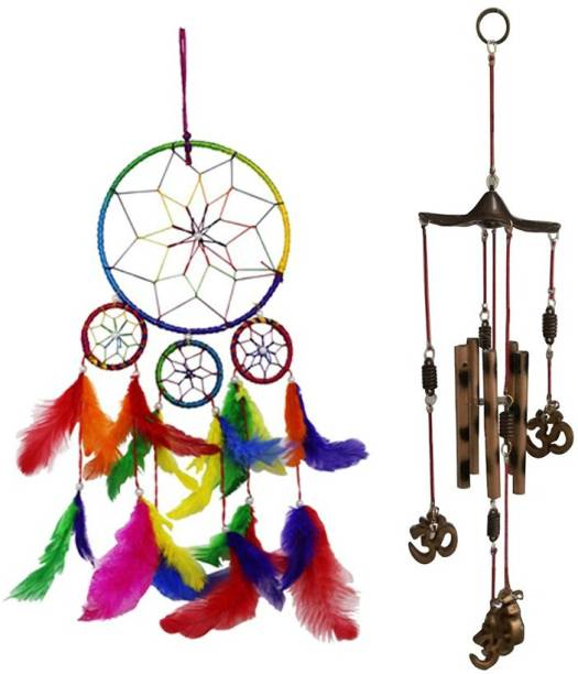 Ryme Combo Of 4 Ring Multi Color Dream Catcher And Om 5 Pipe WindChime For Home And Office Feather, Brass Dream Catcher