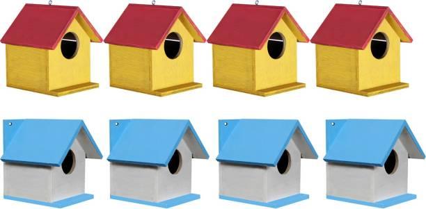 Paxidaya Bird House Nest Box for Sparrow, Finch And All Small Garden Birds (8 Piece) Bird House