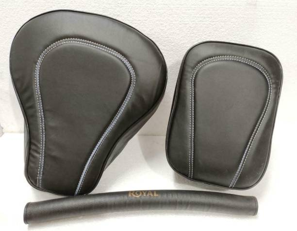 KOHLI BULLET ACCESSORIES Seat Cover for Classic Front & Rear Black Leatherette with Foam Split Bike Seat Cover For Royal Enfield Classic 350, Classic 500