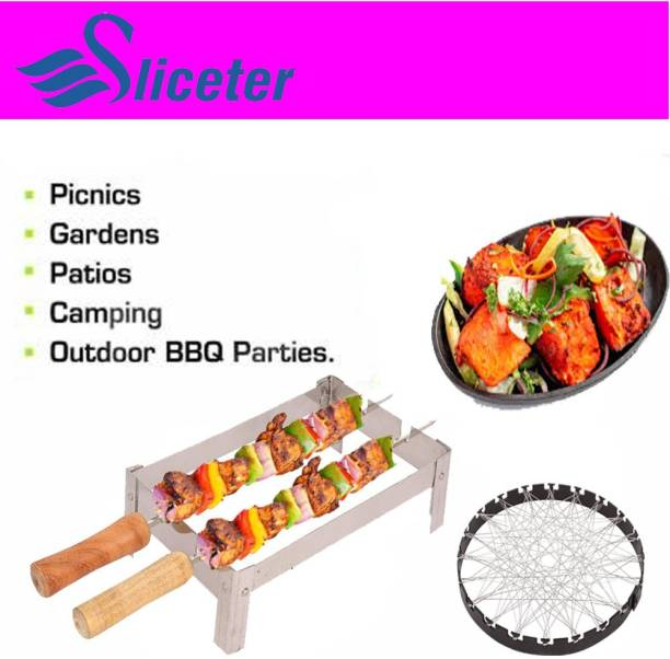 SLICETER Premium Tandoor Channi Folding Chhota Gas Tandoor Stand with 2 Sticks and 1 Barbeque Net Gas Grill