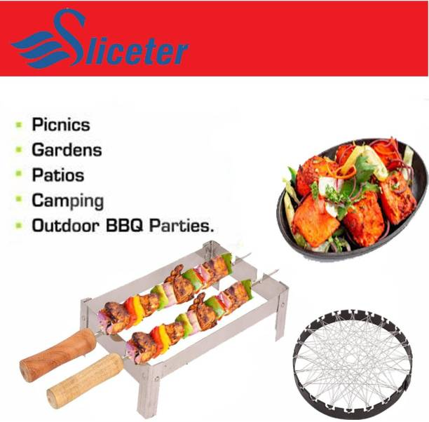 SLICETER Sliceter Grill BBQ tandoor panini Roster Folding Neno/Chhota Tandoori Stand for Gas Along with 2 Sticks and 1 Barbeque Net Outdoor Gas Grill