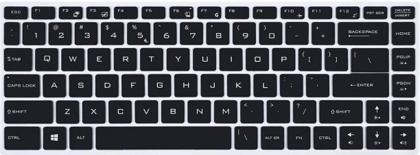 Black with Clear Saco Chiclet Keyboard Skin for HP 15-r007TU Notebook/
