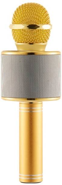 little monkey DYNAMIC SOUND Bluetooth Handheld Karaoke Wireless Microphone Portable Hifi Speaker 2-in-1 Sing & Recording (Gold WIRELESS