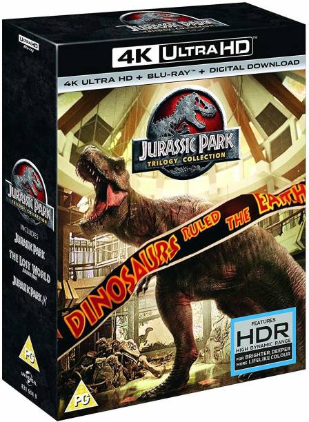 Jurassic Park Trilogy: Complete 3 Movies Collection - Jurassic Park + Lost World + Jurassic Park 3 (4K UHD + Blu-ray + Digital Download) (6-Disc Box Set) (Slipcase Packaging + Region Free) (Fully Packaged Import)