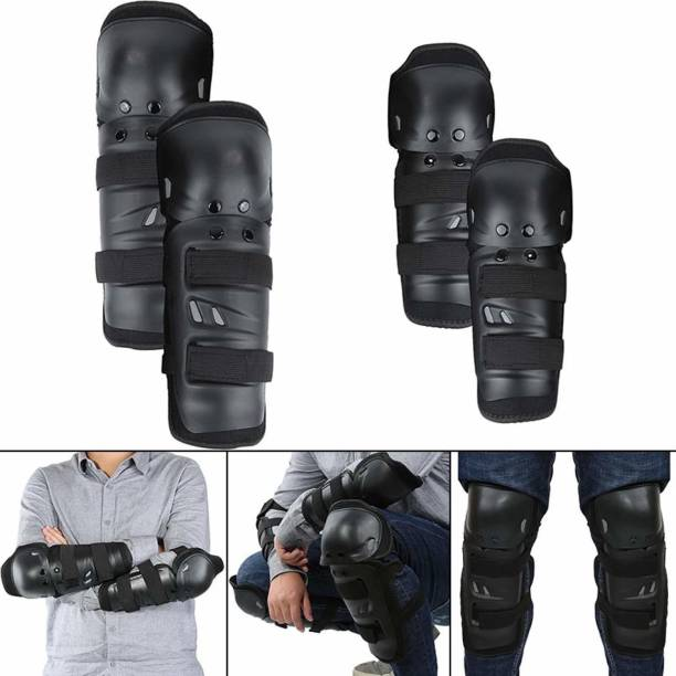 ZIGLY Motorcycle Cycling Knee Elbow Pads Protector Knee Guard, Elbow Guard Free Black