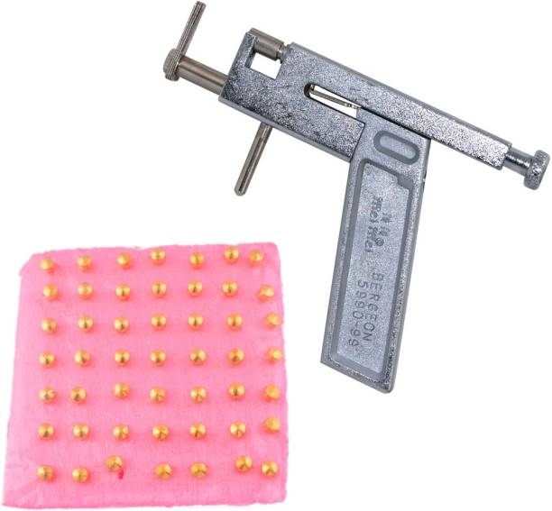 GadgetsDen Professional Stainless Steel Ear Nose Body Piercing Gun Shots Tool Kit Set + 96 Pcs Gold Plated Studs Set Permanent Tattoo Kit
