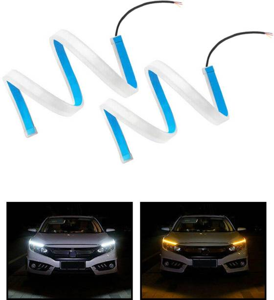 CARZEX white 60cm length LED Light Soft neon headlight design Article Lamp Daytime Car Fancy Lights with yellow indicator for cars Car Fancy Lights