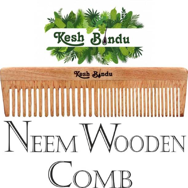kesh Bindu Handmade Neem Wood Broad Tooth Anti-Dandruff Comb For Men And Women