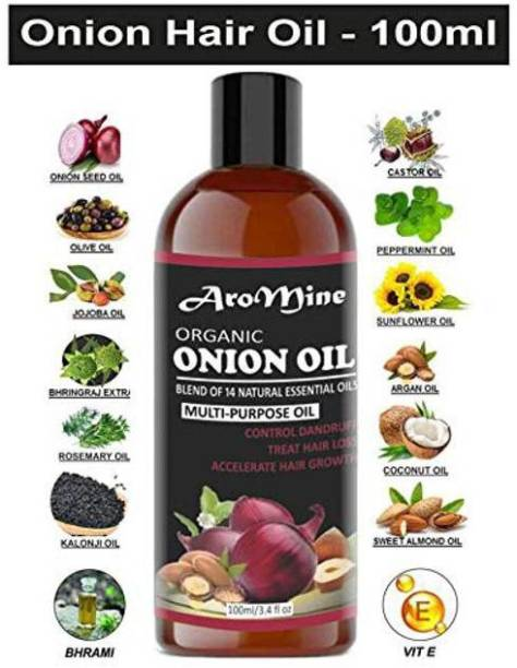 AroMine Onion Oil For Hair Growth 100% Natural With 14 Natural Oils