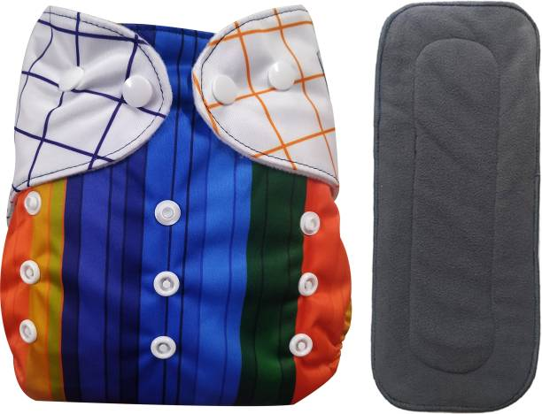 Babymoon (Set of 2) 1 Cloth Diaper with 5Layer Charcoal Bamboo Insert Premium Adjustable Reusable Cloth Diaper Nappie