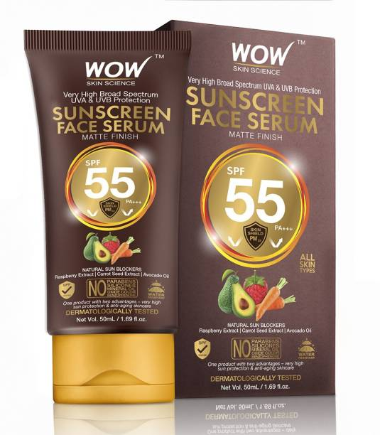 WOW SKIN SCIENCE Matte Finish Sunscreen Face Serum with Raspberry, Carrot Seed & Avocado Oil - No Parabens, Silicones, Mineral Oil, Oxide, Colour, Benzophenone - SPF 55 PA+++