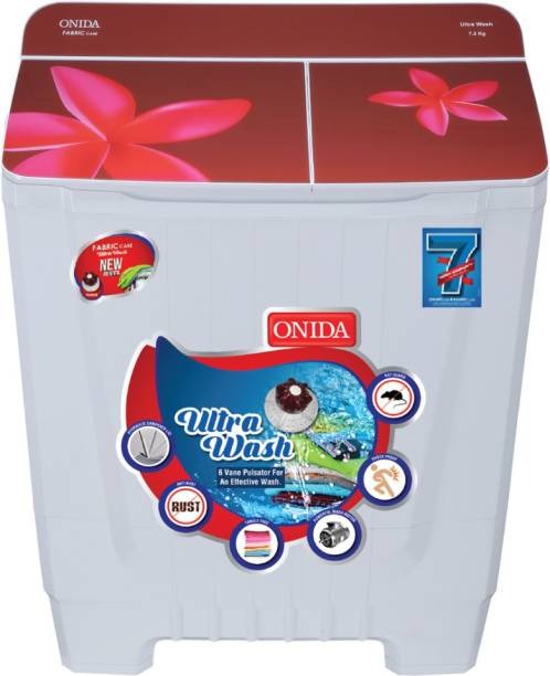 ONIDA 7.2 kg Semi Automatic Top Load Red, White