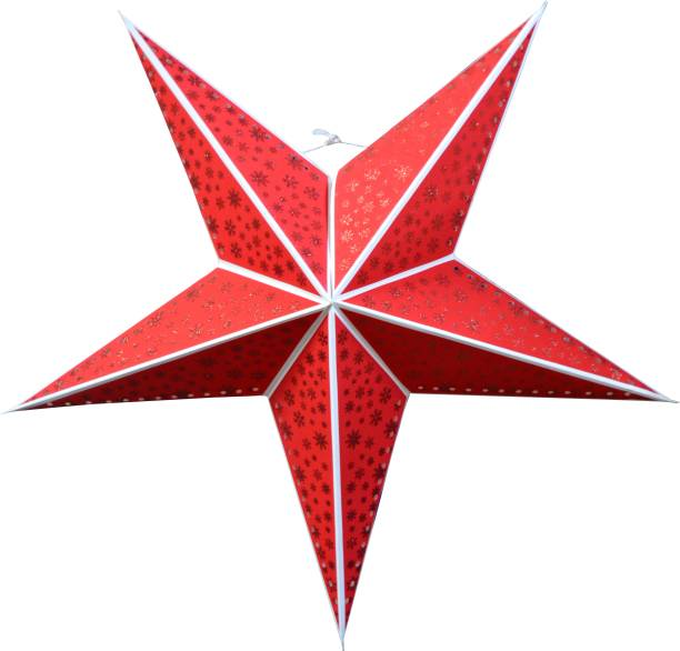 ME&YOU Beautiful Hanging Decorative Star Red color for Home Décor, Party Décor, Christmas Decor (32 Inch) Hanging Star Pack of 1
