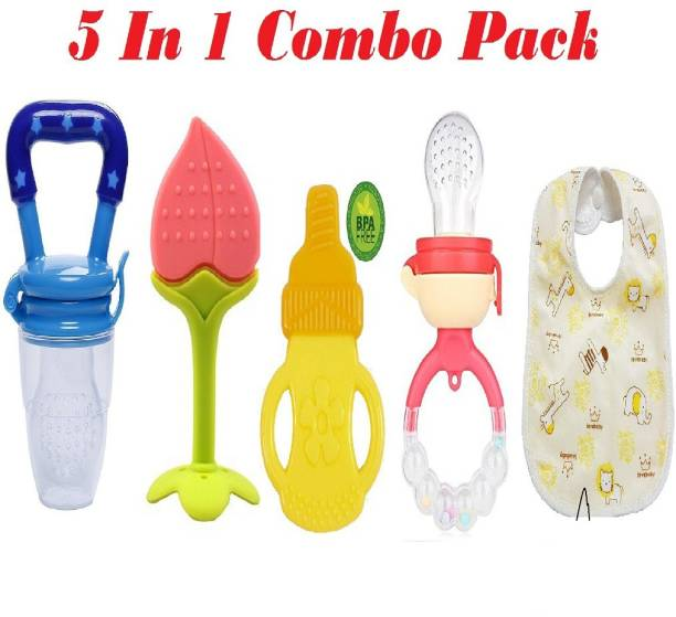 Manan Shopee Baby Fruit Nibbler Feeder 2 Pcs & Baby Silicone Teethers 2Pcs And Bib-Combo