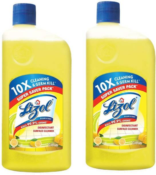 LIZOL Disinfectant Surface Cleaner Citrus + Disinfectant Surface Cleaner Rose 1950 ml ( Pack Of 2 ) Lemon