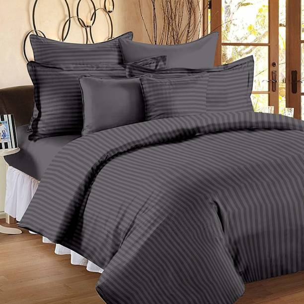 BS EXPORTS 210 TC Satin, Cotton Double King Striped Bedsheet