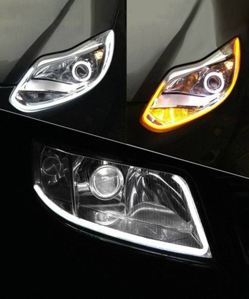 FABTEC white 60cm length LED Light Soft headlight design Article Lamp Daytime Car Fancy Lights with yellow indicator for cars Car Fancy Lights