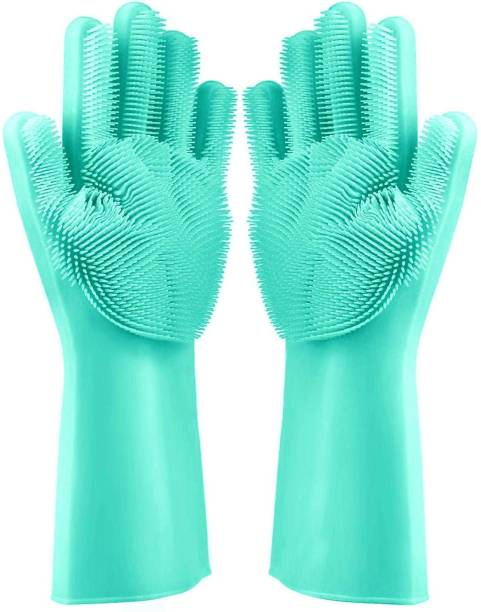 Techobucks Gloves with Wash Scrubber, Reusable Brush Heat Resistant Gloves Kitchen Tool for Cleaning, Dish Washing, Washing The Car, Pet Hair Care Wet and Dry Glove Set