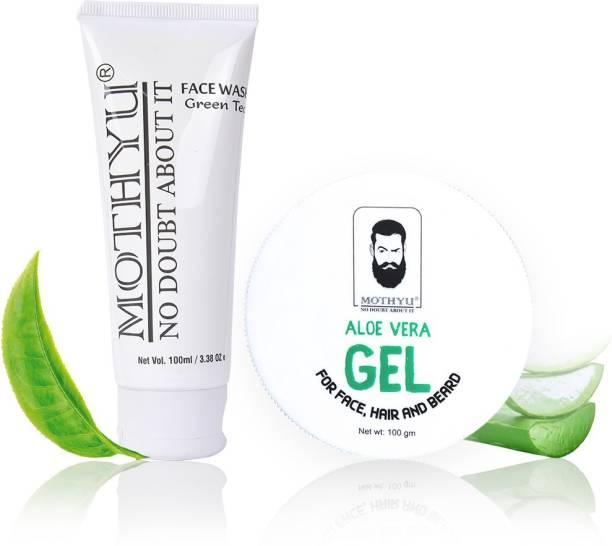 MOTHYU Green Tea Face Wash 100 Ml + Aloe Vera Gel For Face,Hair & Beard 100 Gm