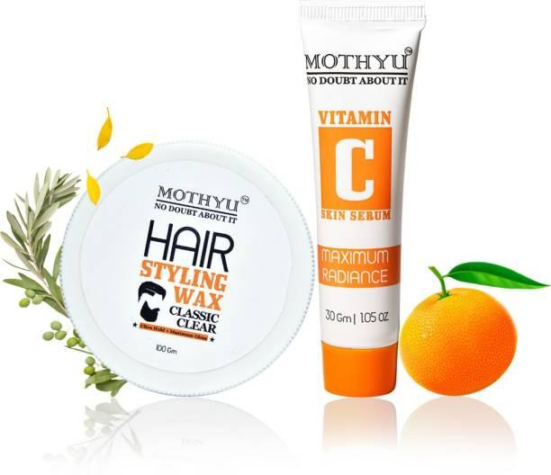 MOTHYU Hair Styling Wax 100 Gm + Vitamin C Skin Serum 30 Gm