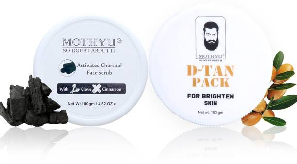 MOTHYU Activated Charcoal Face Scrub With Clove & Cinnamon 100 Gm + D-Tan Pack For Brighten Skin 100 Gm