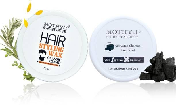 MOTHYU Hair Styling Wax 100 Gm + Activated Charcoal Face Scrub With Clove & Cinnamon 100 Gm