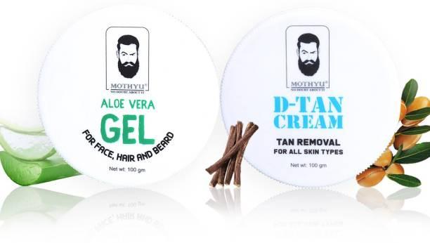 MOTHYU Aloe Vera Gel For Face,Hair & Beard 100 Gm + D-Tan Cream Tan Removal For All Skin Types 100 Gm