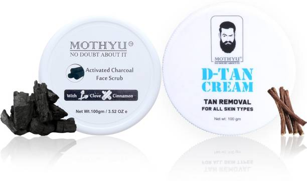 MOTHYU Activated Charcoal Face Scrub With Clove & Cinnamon 100 Gm + D-Tan Cream Tan Removal For All Skin Types 100 Gm