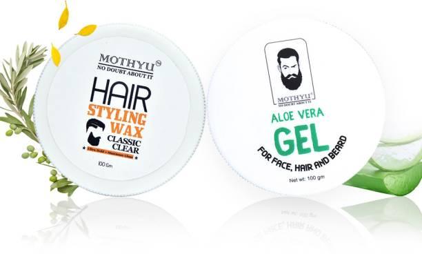 MOTHYU Hair Styling Wax 100 Gm + Aloe Vera Gel For Face,Hair & Beard 100 Gm