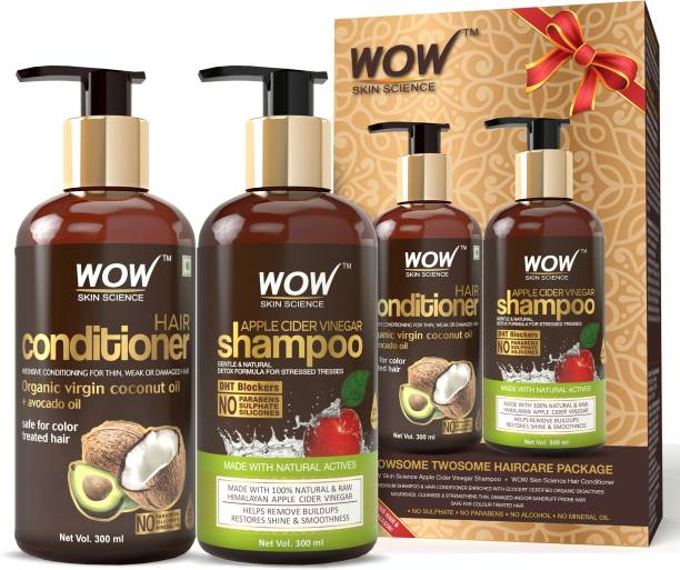 WOW SKIN SCIENCE Apple Cider Vinegar Shampoo 300ml & WOW Hair Conditioner 300ml Combo Kit